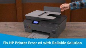 HP Printer e4 error