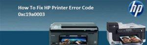 HP Printer Error 0xc19a0003
