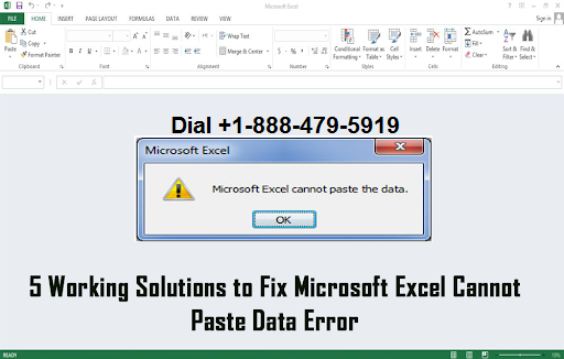 Microsoft Excel cannot paste the data