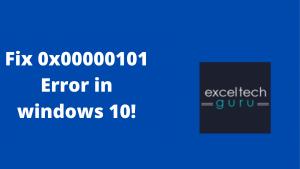 0x00000101 error in windows 10
