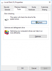 look for corrupted file in the hard drive