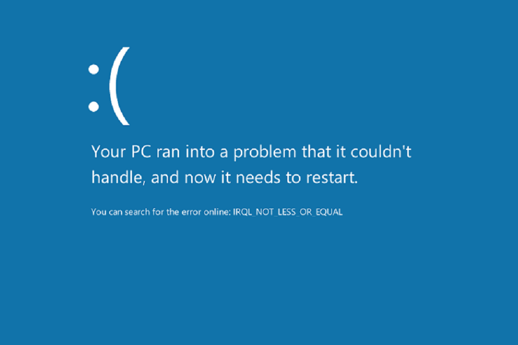 Irql_Not_less_Or_Equal Error in Windows 10