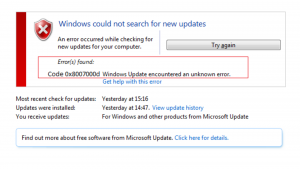Update error code 0x8007000d in Windows 10