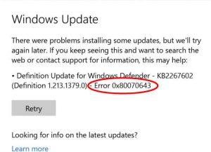 Error 0x80070643 occur in Windows 10