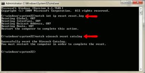 netsh int ip reset and netsh winsock reset.